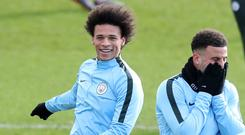 Leroy Sane has trained ahead of Manchester City's Champions League trip to Base