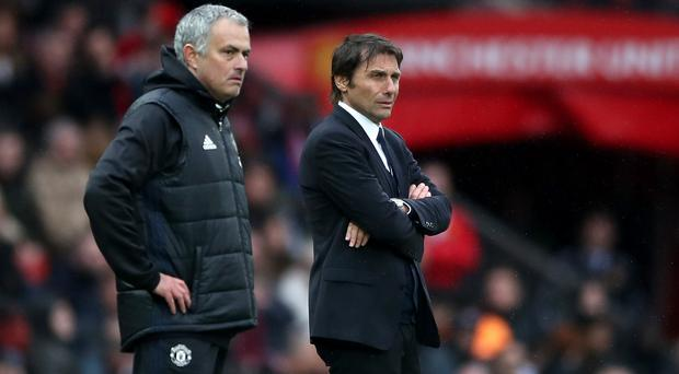 Jose Mourinho, left, and Antonio Conte meet again at Old Trafford this weekend (Nick Potts/PA)