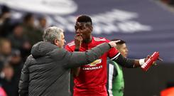 Manchester United manager Jose Mourinho (left) and Paul Pogba