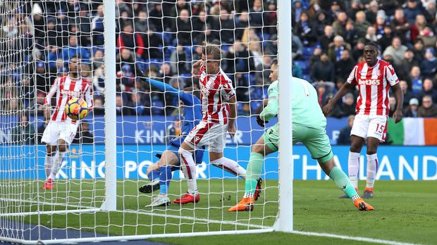 Stoke goalkeeper Jack Butland scores an own goal to gift Leicester an equaliser
