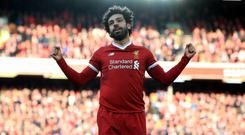 Mohamed Salah celebrates his 31st Liverpool goal of the season