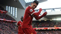 Roberto Firmino took his tally for the season to 22 (Peter Byrne/PA)