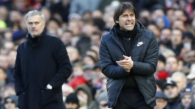 Antonio Conte, right, was disappointed by Chelsea's failure to hold onto their lead against Manchester United