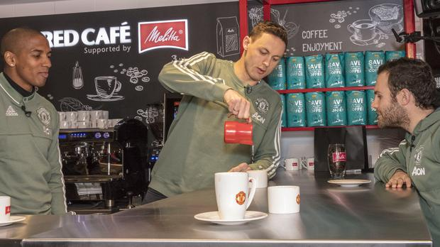 Nemanja Matic at an event with Manchester United's official coffee partner Melitta