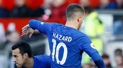 Antonio Conte's system places an enormous creative burden on Eden Hazard, pictured with Pedro Photo: PA