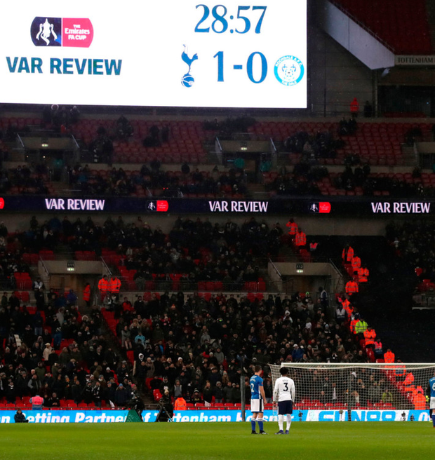 The LED screen alerts the crowd to a VAR review during Wednesday's FA Cup replay between Tottenham and Rochdale at Wembley. Photo: Nick Potts/PA