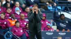 Antonio Conte defended his team's approach at Manchester City (Nigel French/EMPICS)