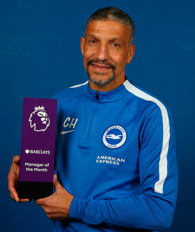 Brighton boss Chris Hughton with his manager of the month award. Photo: Getty Images