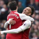 Henrikh Mkhitaryan, left, celebrates his goal with Pierre-Emerick Aubameyang