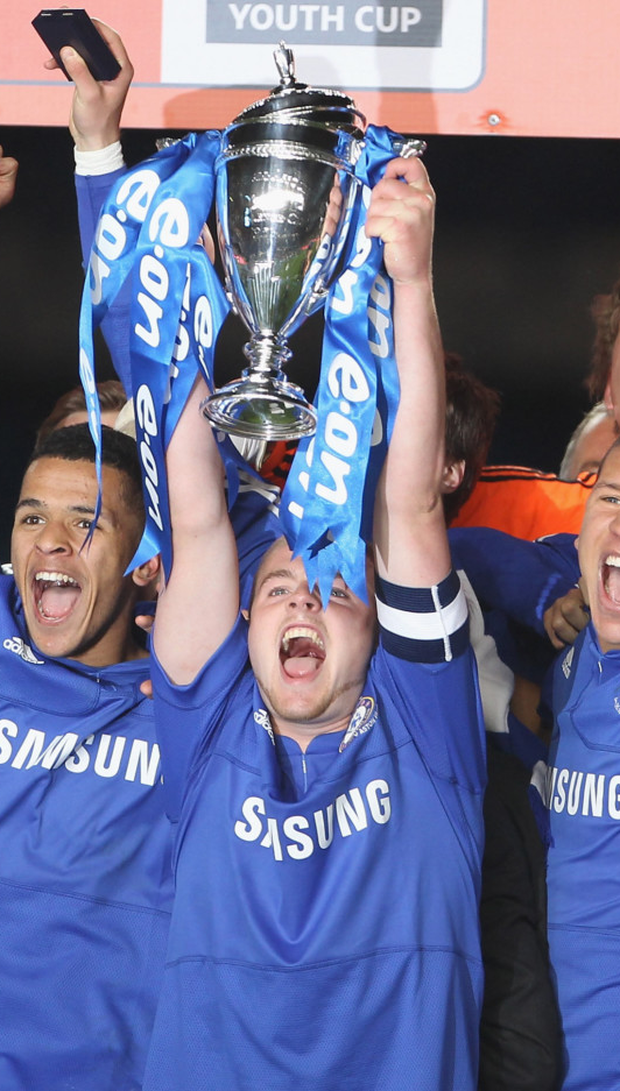 Conor Clifford lifts the FA Youth Cup after their Chelsea's final win in 2010. Photo: Getty Images