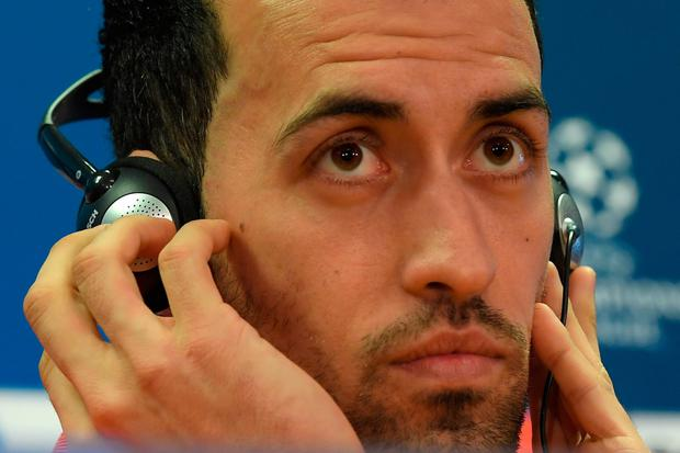 Sergio Busquets deep in thought during yesterday's press conference at the Nou Camp. Photo: Getty Images