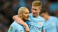 Kevin De Bruyne, right, and David Silva, left, have been outstanding for Manchester City this season