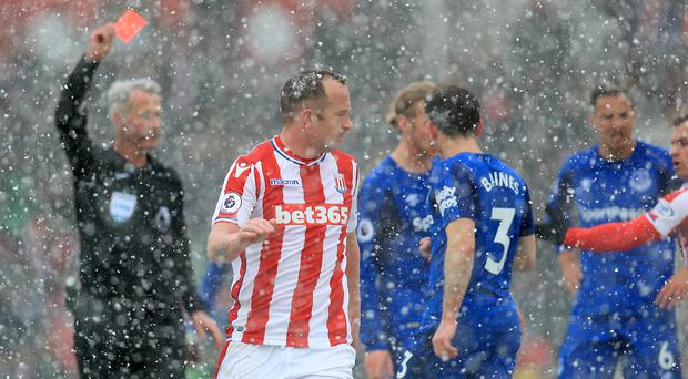 Charlie Adam, centre, receives his marching orders (Mike Egerton/PA)