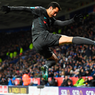 Chelsea's Pedro kicks the corner flag as he celebrates scoring the winning goal. Photo: Getty Images