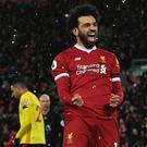 Mohamed Salah is just 11 short of Ian Rush's club-record tally of 47 goals in a season.