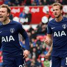 Christian Eriksen, left, was credited with a goal Harry Kane was claiming (Nigel French/PA)