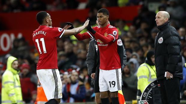 Marcus Rashford comes on for Anthony Martial against Bournemouth