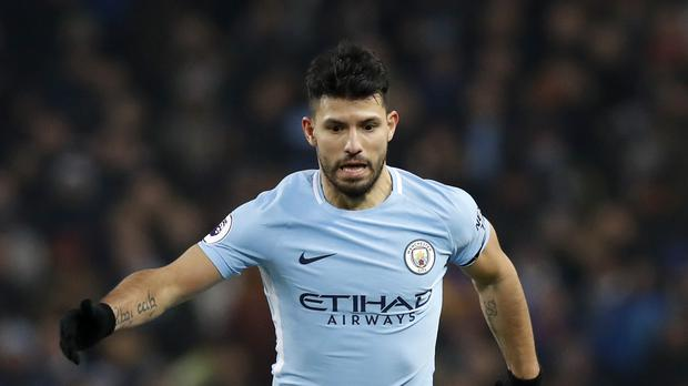 Sergio Aguero is celebrating his third Premier League title win with Manchester City
