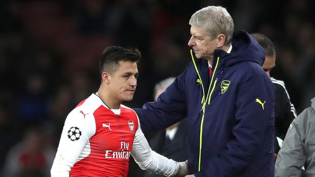 Alexis Sanchez, left, paid tribute to Arsene Wenger (Nick Potts/PA)