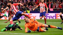Diego Costa of Atletico Madrid scoring the only goal of last night's game in Madrid. Photo: AFP/Getty