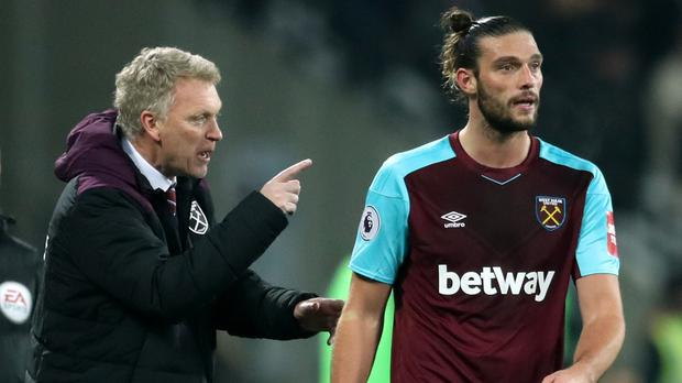 David Moyes, pictured left, and Andy Carroll had a training-ground summit earlier this week