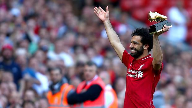 Mohamed Salah celebrates with the Golden Boot