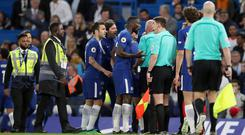 Chelsea have been fined £20,000 by the Football Association for confronting the officials at half-time of the Premier League draw with Huddersfield