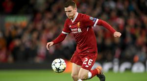 Liverpool's Andy Robertson: 'His performances meant that we couldn't leave him out of the team again until he left us, even though he was so young'. Photo: Getty