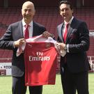 New Arsenal manager Unai Emery (right) with chief executive Ivan Gazidis