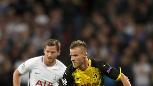 Andriy Yarmolenko, right, played in the Champions League with Borussia Dortmund last season (Nick Potts/PA)