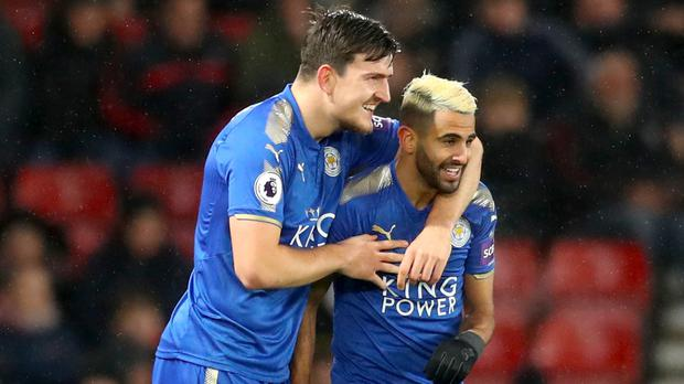 Riyad Mahrez and Harry Maguire celebrate a goal (Adam Davy/PA)