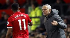 Jose Mourinho has changed his tune on Anthony Martial's future (Martin Rickett/PA)