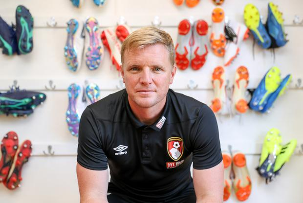 Eddie Howe, pictured, in Bournemouth's boot room as preparations intensify for the return to Premier League action (Andrew Matthews/PA)