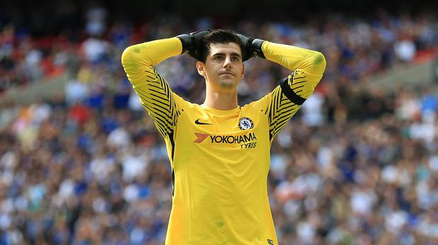 Thibaut Courtois was absent from Chelsea training on Monday (Nigel French/PA)