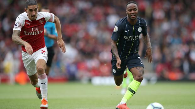 Raheem Sterling scored his 50th Premier League goal in Manchester City's win at Arsenal (Nick Potts/PA Images)