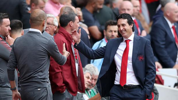 Unai Emery began life in the Premier League with a match against Pep Guardiola (Nick Potts/PA)