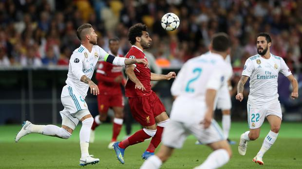Sergio Ramos, left, controversially tangled with Mohamed Salah in last year's Champions League final in Kiev. Photo: Nick Potts/PA