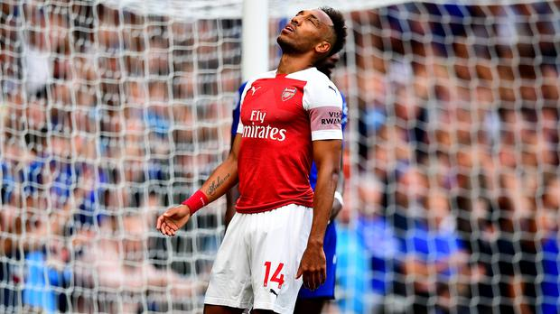 Pierre-Emerick Aubameyang missed two great chances in Arsenal's defeat to Chelsea last weekend. (Victoria Jones/PA)