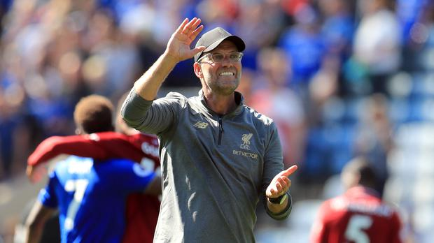 Liverpool manager Jurgen Klopp celebrates the win at Leicester. (Mike Egerton/PA).