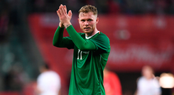 Aiden O'Brien acknowledges the Irish supporters after Ireland's draw against Poland. Photo: Sportsfile