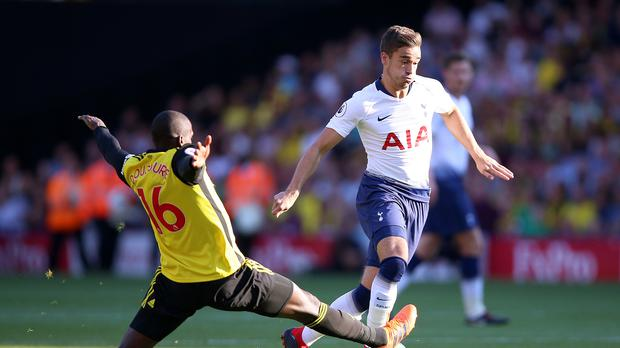 Harry Winks, right, is closing on a Tottenham start after a lengthy injury (Nigel French/PA)
