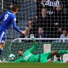Leicester's Jamie Vardy scores from the penalty spot at Newcastle (Owen Humphreys/PA)