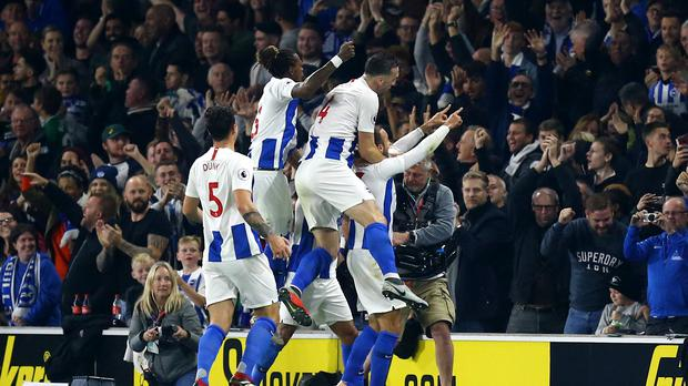 Glenn Murray and Brighton celebrate (Gareth Fuller/PA)