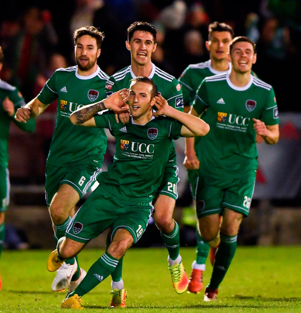 Cork City's Karl Sheppard celebrates after scoring his side's second goal. Photo: Harry Murphy/Sportsfile