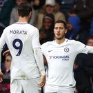 Alvaro Morata, left, does not expect Eden Hazard, right, to try to force a move from Chelsea to Real Madrid (Nick Potts/PA Images)