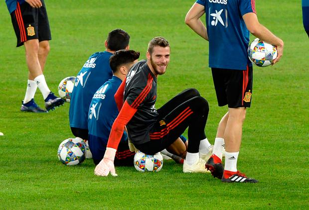 David De Gea is all smiles at training ahead of Spain's friendly against England. Photo: AFP/Getty Images