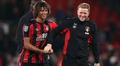 Bournemouth manager Eddie Howe (right) has been impressed by the progress of defender Nathan Ake (left) (Andrew Matthews/PA Images)