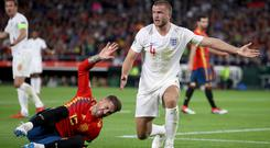 Eric Dier (right) earned praise for his tackle on Sergio Ramos (Nick Potts/PA)