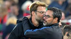 Liverpool manager Jurgen Klopp faces best friend David Wagner again at Huddersfield on Saturday (Dave Howarth/PA).