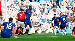 Ross Barkley scores Chelsea's dramatic late equaliser against Manchester United at Stamford Bridge yesterday. Photo: Clive Rose/Getty